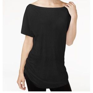 Rachel Rachel Roy Black Boat-Neck T-Shirt M